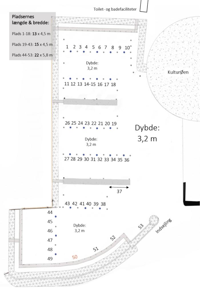 NyHavn 2 Middelfart - oversigt over bådpladser